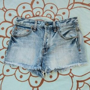 Free People Button-up Cut-off Shorts Sz 25